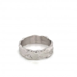 Unisex silver band melted