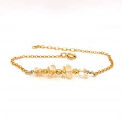 Goldplated silver bracelet with chips citrine