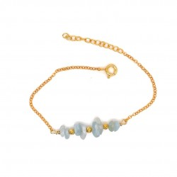 Goldplated silver bracelet with chips aquamarine