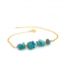 Goldplated silver bracelet with chips turquoise