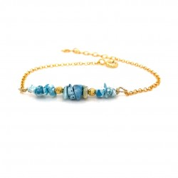 Goldplated silver bracelet with chips chrysocolla