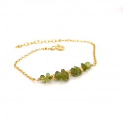Goldplated silver bracelet with chips peridot