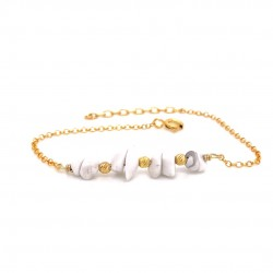 Goldplated silver bracelet with chips howlite