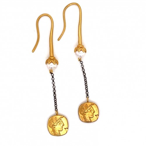 Dangling chain earrings with motif Goddess Athena