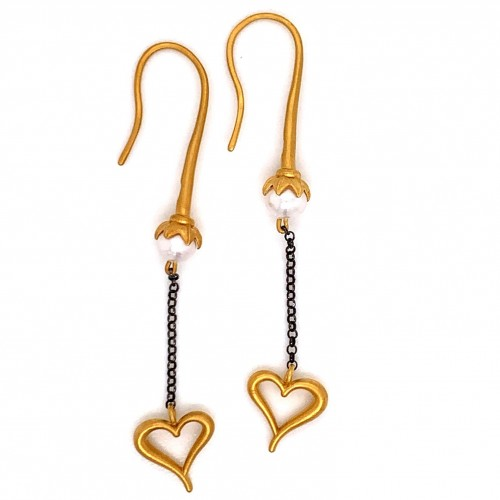 Dangling chain earrings with motif Heart