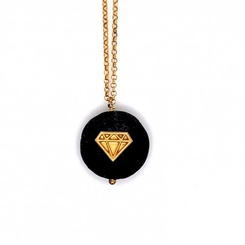 Lava chain necklace with Diamond