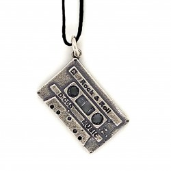 Cassette pendant from oxidized sterling silver, unisex, retro, hobby collection