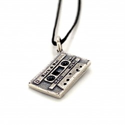 Cassette small pendant from oxidized sterling silver, unisex, retro, hobby collection
