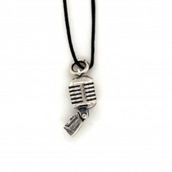 Retro microphone small pendant from oxidized sterling silver, unisex, vintage, retro, hobby collection
