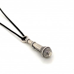 Microphone  pendant from oxidized sterling silver, unisex, hobby collection