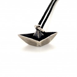 Paper boat pendant from oxidized sterling silver, unisex, hobby collection