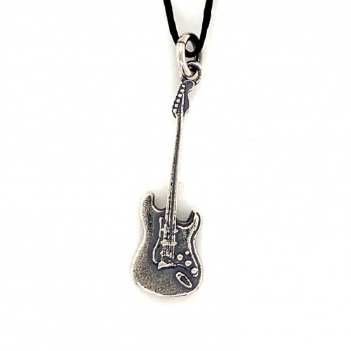 Bass guitar pendant from oxidized sterling silver,...