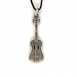 Guitar pendant from oxidized sterling silver, unisex, hobby collection