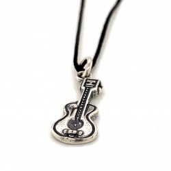 Classic guitar pendant from oxidized sterling silver, unisex, hobby collection