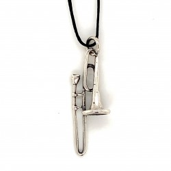 Τrumpet pendant  from oxidized sterling silver, unisex, hobby collection