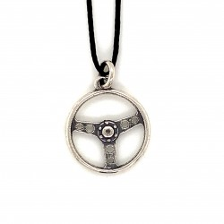 Steering wheel pendant from oxidized sterling silver, unisex, hobby collection