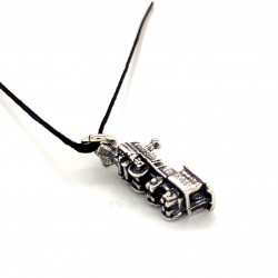 Train pendant from oxidized sterling silver, unisex, hobby collection