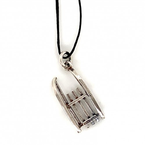 Sleigh pendant from oxidized sterling silver, uni...