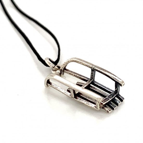 Sleigh pendant from oxidized sterling silver, unisex, hobby collection