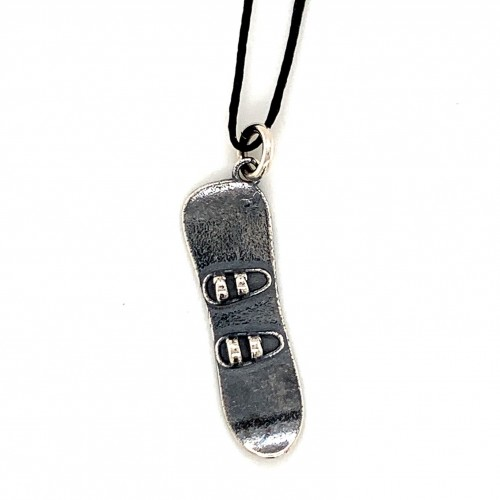 Snowboard pendant from oxidized sterling silver, ...