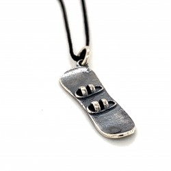 Snowboard pendant from oxidized sterling silver, unisex, hobby collection
