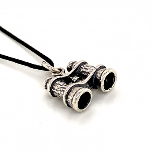 Binoculars pendant from oxidized sterling silver, ...