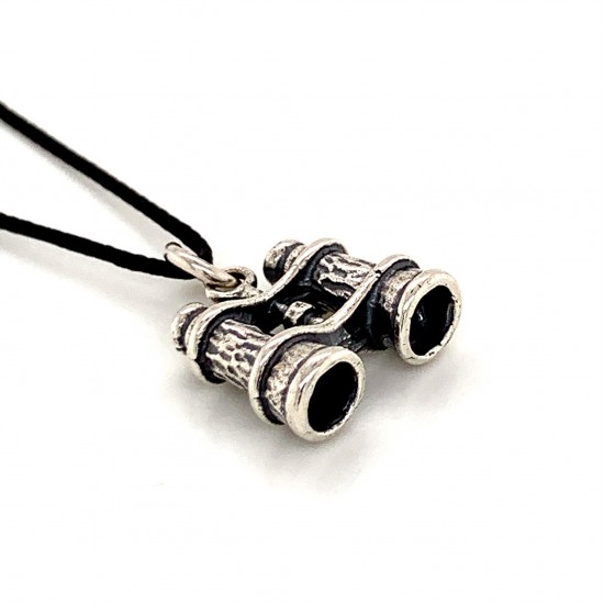 Binoculars pendant from oxidized sterling silver, unisex, hobby collection