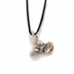 Boat propeller pendant from oxidized sterling silver, unisex, hobby collection