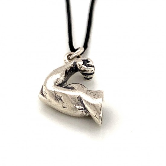 Arm muscle pendant from oxidized sterling silver, unisex, hobby collection