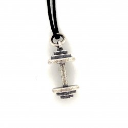 Dumbbell pendant from oxidized sterling silver, unisex, hobby collection