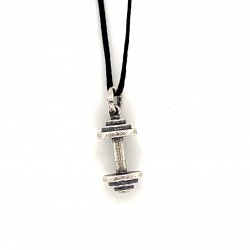 Dumbbell small pendant from oxidized sterling silver, unisex, hobby collection