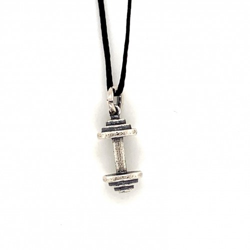 Dumbbell small pendant from oxidized sterling sil...