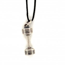 Dumbbell hexagon pendant from oxidized sterling silver, unisex, hobby collection