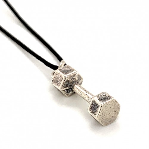 Dumbbell hexagon pendant from oxidized sterling s...
