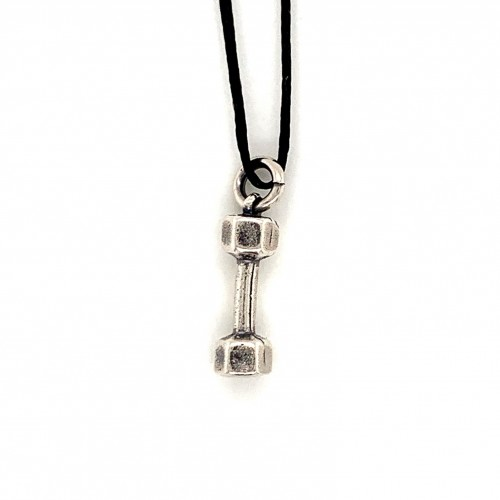 Dumbbell hexagon small pendant from oxidized ster...