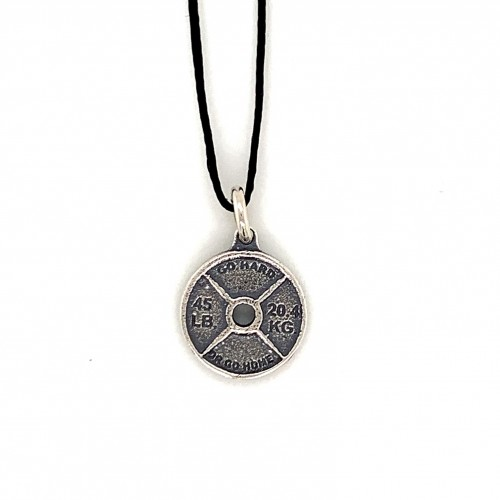 Spinlock dumbbell small pendant from oxidized ste...