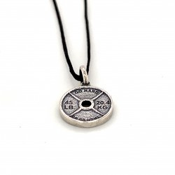 Spinlock dumbbell small pendant from oxidized sterling silver, unisex, hobby collection