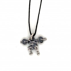Weightlifter pendant from oxidized sterling silver, unisex, hobby collection