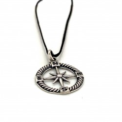 Compass pendant from oxidized sterling silver, unisex, hobby collection