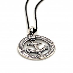 Anchor pendant from oxidized sterling silver, unisex, hobby collection