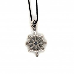 Boat wheel pendant from oxidized sterling silver, unisex, hobby collection