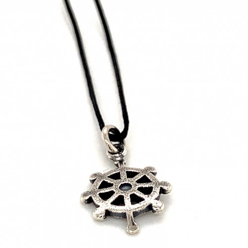 Boat wheel pendant from oxidized sterling silver, ...
