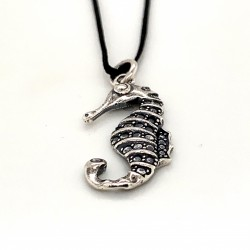 Seahorse pendant from oxidized sterling silver, unisex, hobby collection