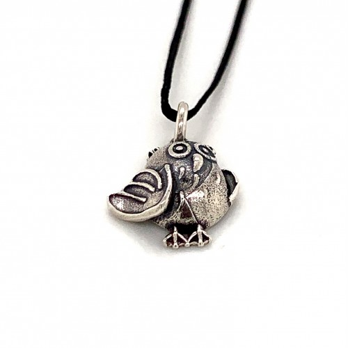 Bird pendant from oxidized sterling silver, unise...
