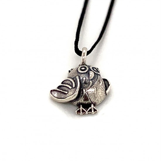Bird pendant from oxidized sterling silver, unisex, hobby collection