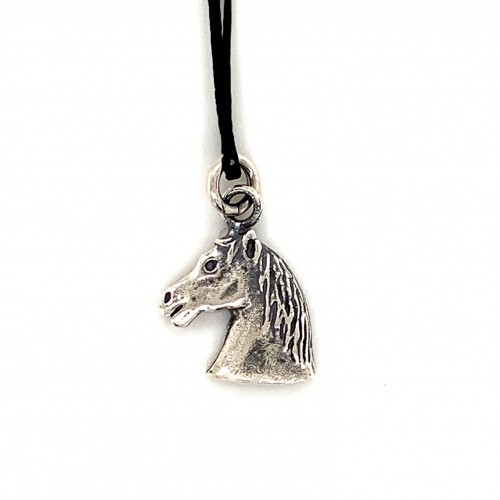 Horse pendant from oxidized sterling silver, unis...