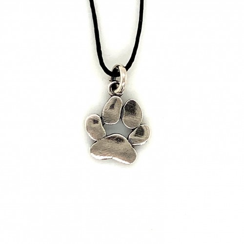 Dogfoot dog paw pendant from oxidized sterling si...
