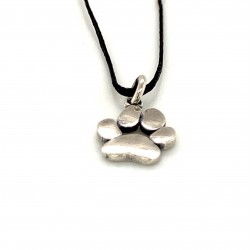 Dogfoot dog paw pendant from oxidized sterling silver, unisex, hobby collection