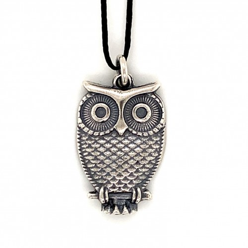 Owl pendant from oxidized sterling silver, unisex...
