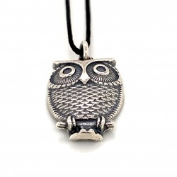 Owl pendant from oxidized sterling silver, unisex, hobby collection